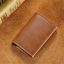 BISI GORO Rfid Protector Credit Card Holder Security Wallet PU Leather Men Metal Vintage Business Bank ID Card Case Cardholder(China)