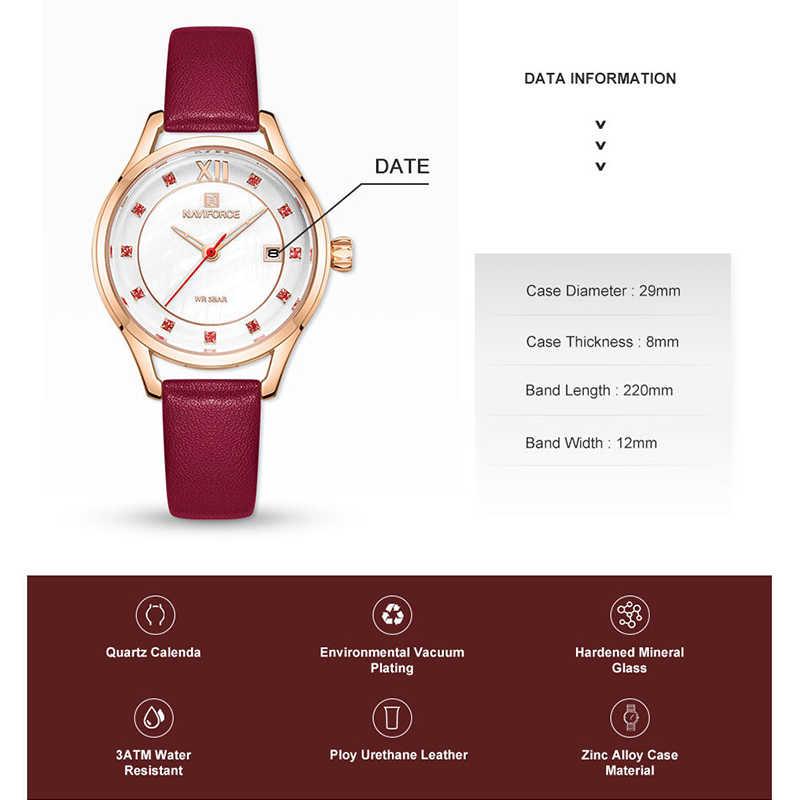 NAVIFORCE bayanlar izle moda lüks Rhinestone kırmızı kuvars saatler su geçirmez Casual saat kadın kol saati Relogio Femino 2019