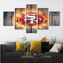 5 Pcs Ball Sport Poster San Francisco Team Paintings Wall Home Decor 49ers Canvas Painting Calligraphy For Living Room Bedroom цена