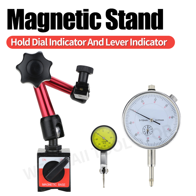 Magnetic Stand Dial Indicator Measuring Probes Dial Gauge Electric Magnetic Holder Base Micrometer Measuring Tool Hour Indicator