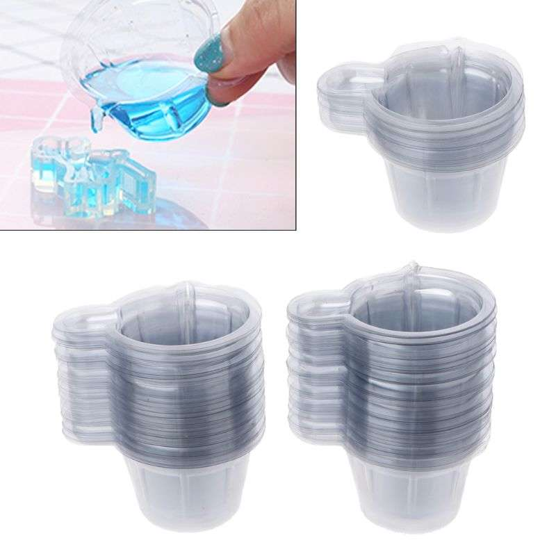 20-100Pcs 40ML Plastic Disposable Cups Dispenser Silicone Resin Mold Kit For DIY Epoxy