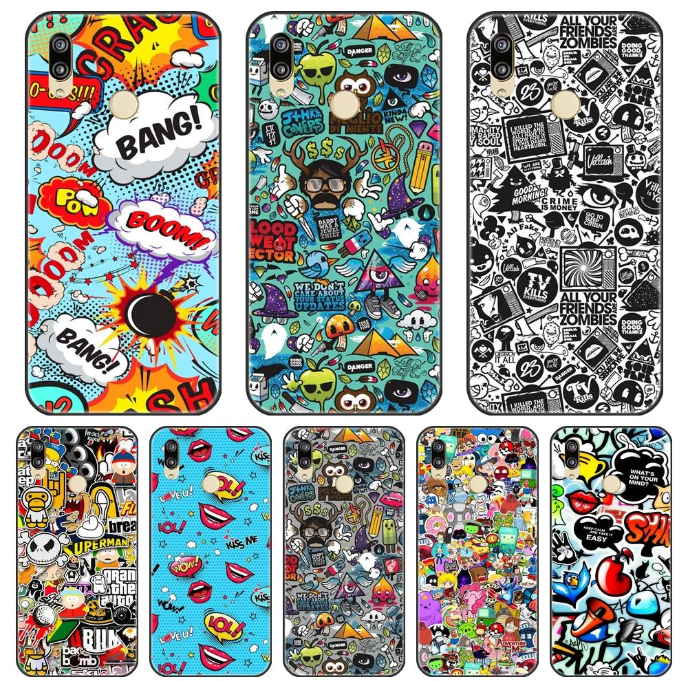 Anime Graffiti Phone Case For Huawei P8 P9 P10 P20 Lite 2017 Silicone TPU Back Cover For Huawei P9 P10 Plus P20 Lite Pro P Smart image