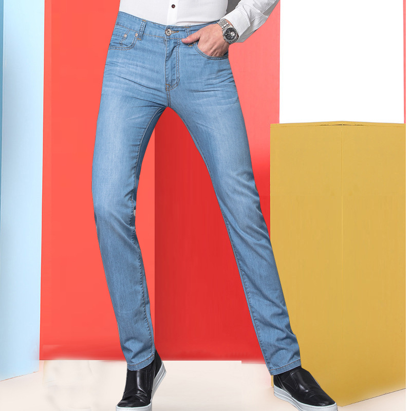New Style Summer Jeans Men's Elasticity Slim Fit Straight-Cut Jeans Business Casual Large Size Trousers Fashion Thin