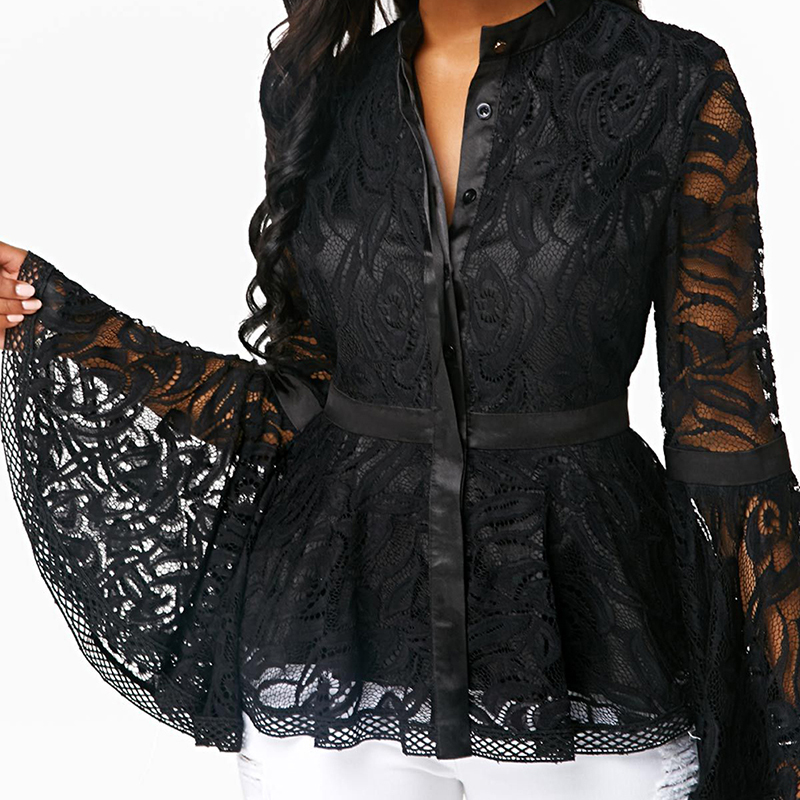 Women Lace Sexy Hollow Out Flared Sleeve Blouses Lady Black Patchwork Print Shirts Blusas Mujer De Moda 2019