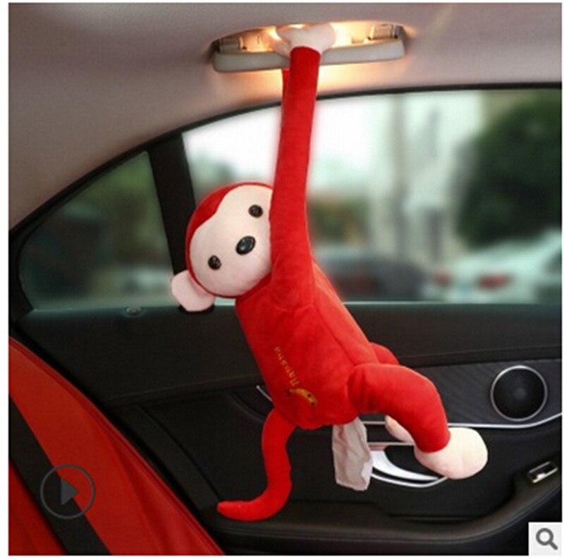 Креативный мультфильм обезьяна Вынимаемые салфетки коробки портативный домашний офис Авто Подвесная коробка из ткани покрытие полотенце Организация держателей - Цвет: Красный