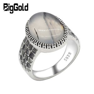 Image 1 - 925 Sterling Silver Men Ring with Big Natural Onyx Stone Vintage Weave Style Thai Silver Ring for Men Women Turkish Jewelry