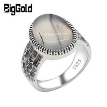 Anillo de Plata de Ley 925 para hombre y mujer, con piedra de ágata Natural grande, anillo de plata tailandesa Vintage para Estilo de tejido, joyería turca