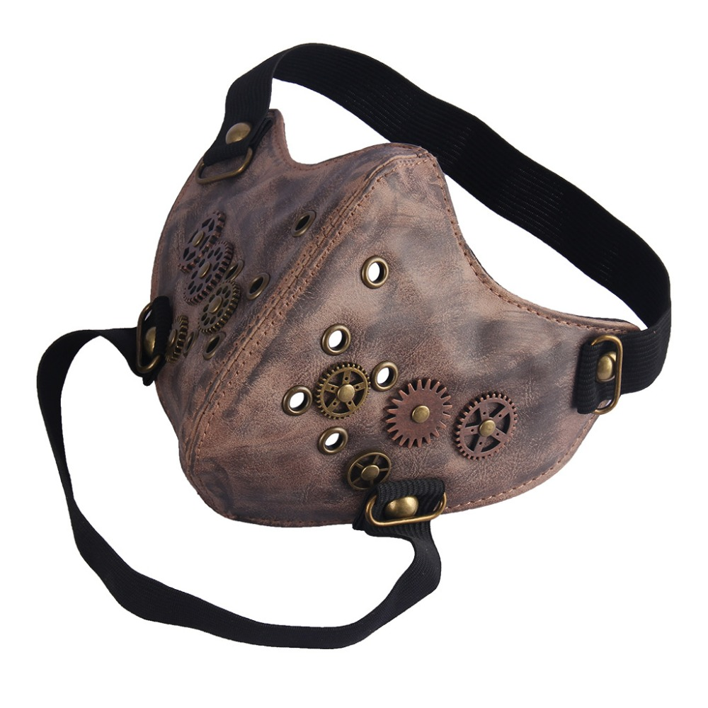 Punk Locomotive Windproof Mask Tide Men And Women Leather Non-mainstream Gear Mask Steampunk Halloween Mask