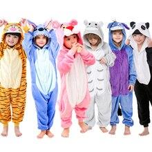 Kigurumi/Детские фланелевые пижамы; детская зимняя одежда для сна; комбинезоны для мальчиков; пижамный комплект для девочек; Пижама с единорогом, тигром, пандой, стежком и животными
