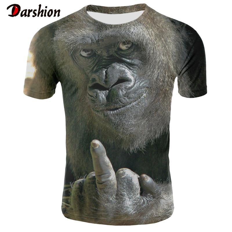 Men's T-shirt Summer Playboy's T-shirts Stylish Men's Short Sleeve Printed Animal Clothes For Boy 3D Printed Orangutan Tshirts