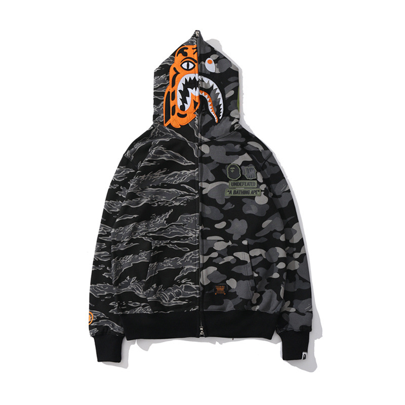 Japanese-style Popular Brand Tiger Pattern Joint Printed Hoodie Fashion Hot Selling Zipper Coat