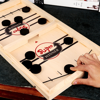 Funny Wooden Fast Sling Puck Slingpuck Table Board Game Parent-child Interactive Kids Toys Portable Table Games for Party Adult недорого