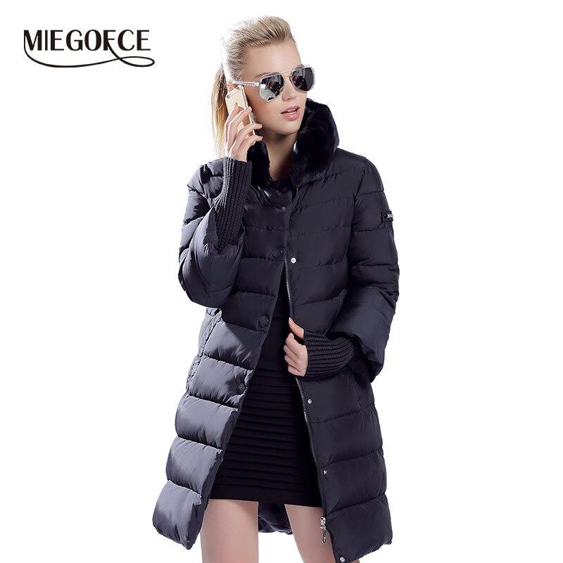 Miegofce 2019 inverno pato para baixo jaqueta feminina longo casaco quente parkas grossas roupas femininas quentes gola de pele de coelho alta qualidade