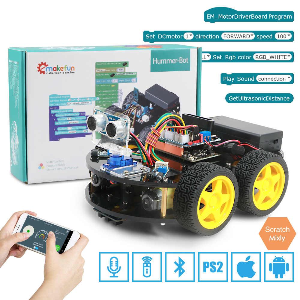 Emakefun Arduino 로봇 4WD 자동차 APP RC 원격 제어 블루투스 로봇 학습 키트 어린이를위한 교육 줄기 장난감 아이