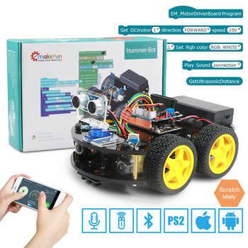 Emakefun Arduino Robot için 4WD arabalar APP RC uzaktan kumanda Bluetooth robotik öğrenme kiti eğitim kök oyuncaklar için çocuk çocuk
