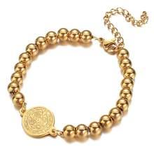Mannen Hand Armband Mannelijke Goud Zilver Kleur Rvs Bead Chain Benedictus Cross Charm Armbanden Voor Mannen Sieraden 2020