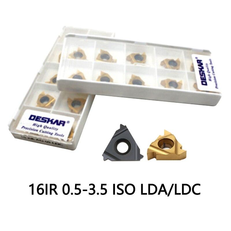 16ir 1.5 Iso 10pcs 16IR 0.5  0.75 1 1.25 1.5 1.75 2 2.5 3 3.5 ISO LDA LDC Carbide Inserts CVD Coating DESKAR Brand Cut Steel