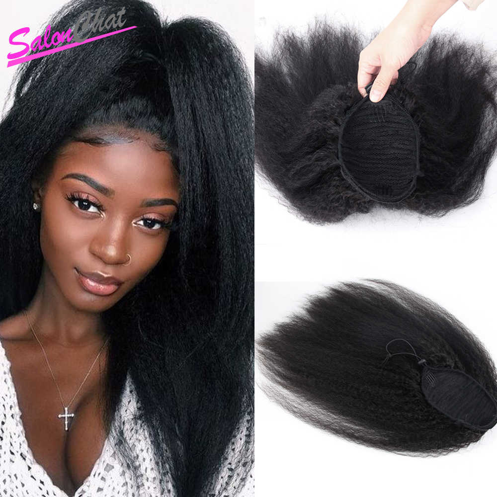 HS Kinky Straight Brazilian Human Hair Drawstring Ponytail Clip In Hair Extension Coarse Yaki Natural Color Remy Afro Ponytail