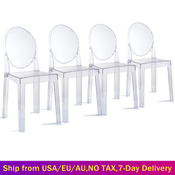 6 PCS Modern Dining Chairs Set Acrylic Chairs Clear Ghost Victoria Dining & Vanity Dressing Chair For Kitchen Office Dining Room 1