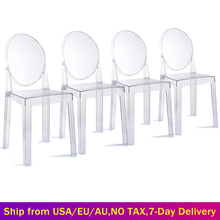 6 PCS Modern Dining Chairs Set Acrylic Chairs Clear Ghost Victoria Dining & Vanity Dressing Chair For Kitchen Office Dining Room