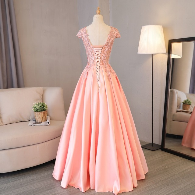 Beauty Emily Gorgeous 2020 Long Lace Appliques Pink Evening Dresses V Neck Sleeveless Pleated Prom Gown For Ceremony Party Dress 2