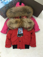 80cm 145cm 2019 Winter Jacket Children down jackets duck down Fur hooded girl boy outerwear ski