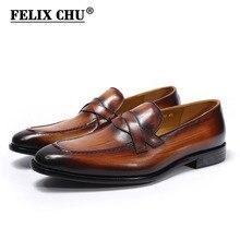 FELIX CHU mocasines clásicos Penny de piel auténtica para hombre, calzado Formal, marrón y gris, para oficina, fiesta, boda, zapatos informales