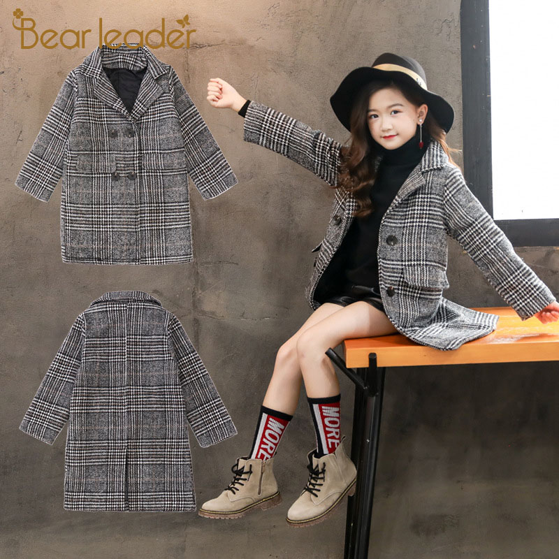 Bear Leader Girl Coat Wool New Winter Girls Woolen Coat Fashion Plaid Kids Outfit Teenager Clothing Children Outerwear Cool Suit