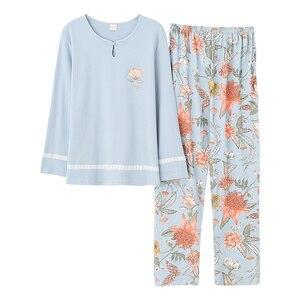 Image 2 - Outono inverno mulher pijamas casa roupas plus size pijamas conjunto de manga longa pijamas para mulher conjuntos 100% algodão