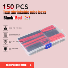 цена на 127/150pcs Red Black Polyolefin Heat Shrink Tubing Cable Tube Sleeving Kit Wrap Wire Set PE Heat Shrink Tubing Set Cable Sleeves