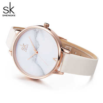 Shengke Top Brand Fashion Ladies Watches Elegant Female Quartz Watch Women Thin Leather Strap Watch Montre Femme Marble Dial SK - DISCOUNT ITEM  35% OFF All Category