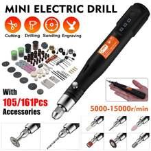 15000rpm 3 velocidades ajustar moedor elétrico mini broca ferramentas rotativas máquina de moagem caneta gravura usb com 105/161 pces acessórios