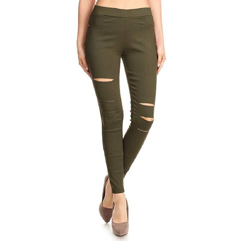 Lammei 2020 Newest Women's Hole Skinny Jeans Ripped Long Pants Ladies Joggings Denim High Waist Stretch Pencil Trousers Black