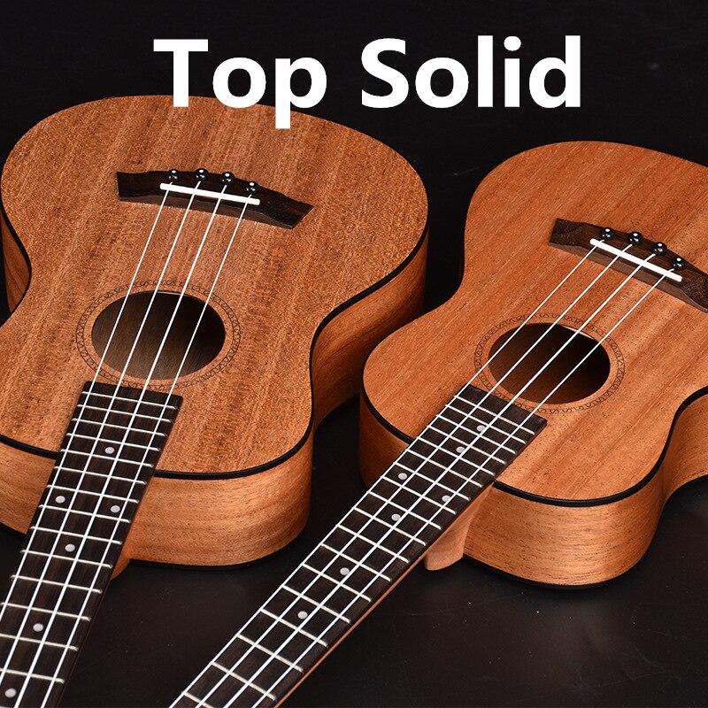 Ukulele Top Solid  Acoustic Electric Concert Tenor 23 26 Inch Hawaiian Guitar Ukelele Mahogany 4 Strings Guitarra Black Edge Uke