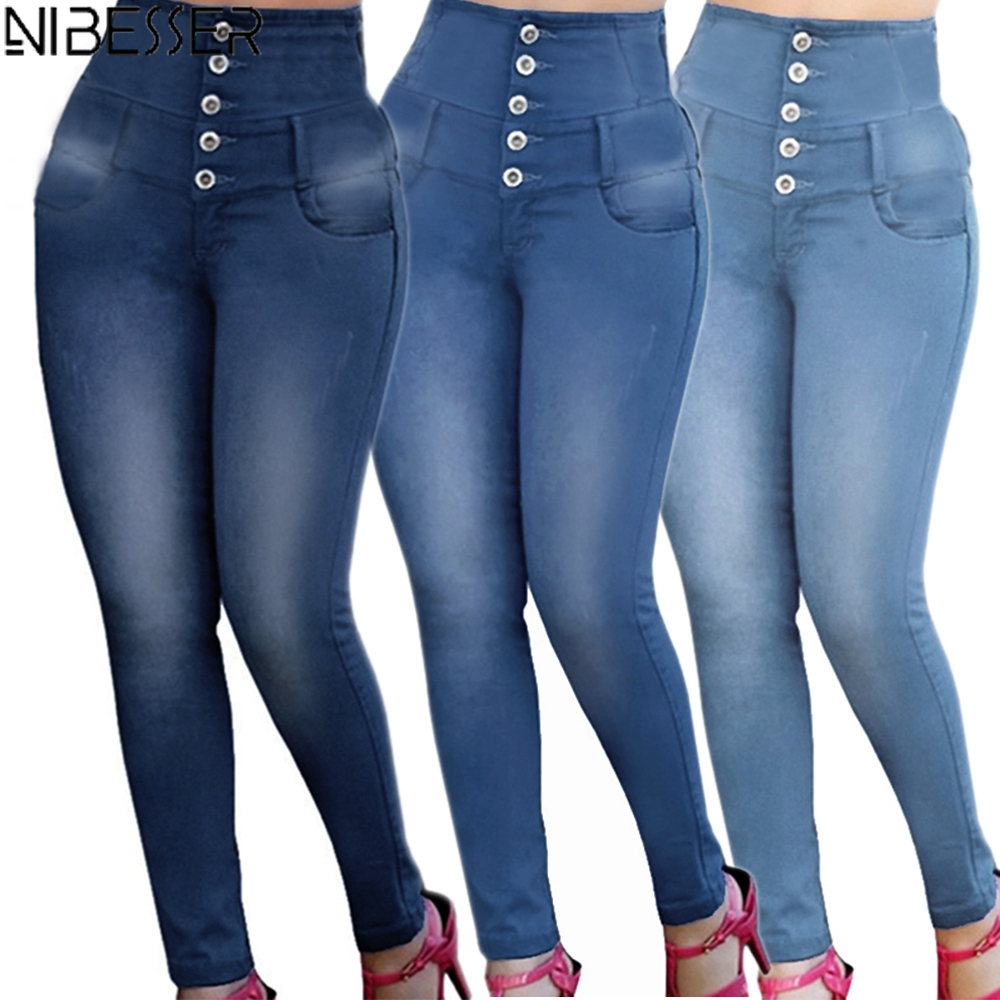 NIBESSER 2020 New Arrival Women Stretch High Waist Casual Straight-breasted Jeans Fashion Slim Female Solid Color Plus Size Pant