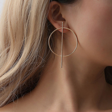 Exaggeration Super Oversized Earrings Geometric Gold Sliver Big Round Circle Bar Hoop Women Punk Statement