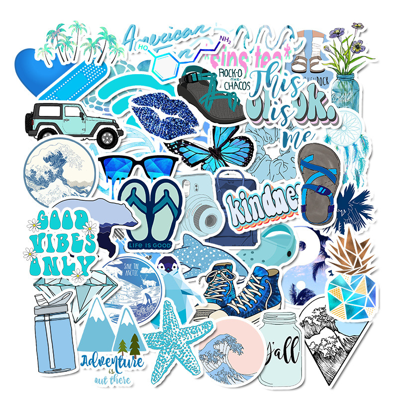 50Pcs Blue Cartoon Animal Graffiti Computer Stickers Waterproof Luggage Fridge Decals For MacBook/HP Laptop Sticker