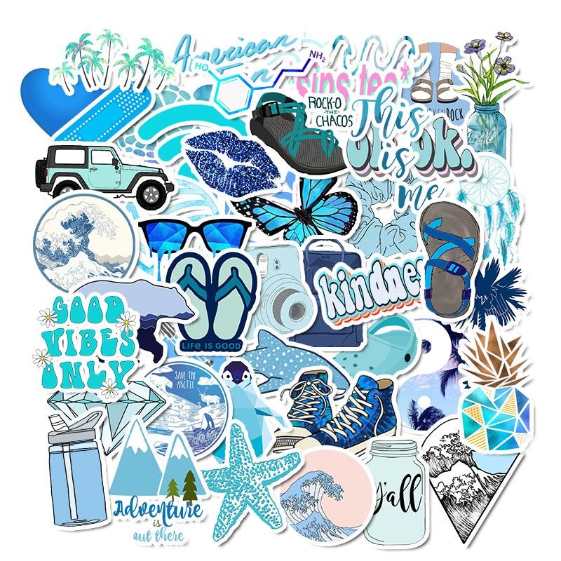 50Pcs Blue Cartoon Animal Graffiti Computer Stickers Waterproof Luggage Fridge Decals For MacBook/HP Laptop Sticker