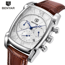 BENYAR Fashion Sport Chronograph Men's Watches Waterproof 30M Genuine Leather Strap Luxury Classic Rectangle Case Quartz Watch