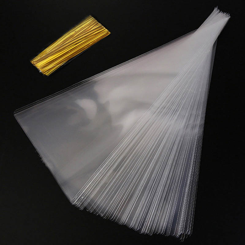 50Pcs Clear Cellophane Packing Bag Candy Cone Bags Flower Gift Bag Chocolate Sweet Popcorn Plastic Bag Wrapping Birthday Wedding Gift Bags & Wrapping Supplies     - title=