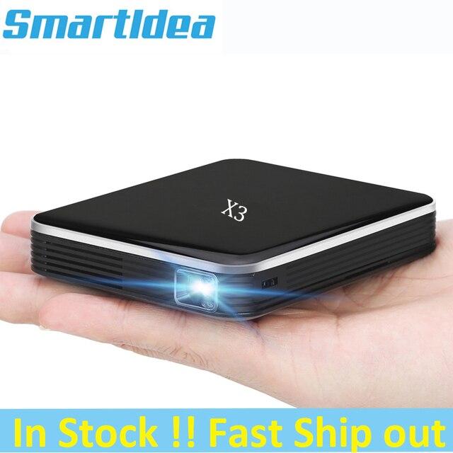 Smartldea DLP Máy Chiếu Mini Di Dùng Pin Sạc, 200Ansi HD Bỏ Túi Thông Minh Proyector Điện Thoại Có Dây Đồng Bộ Màn Hình