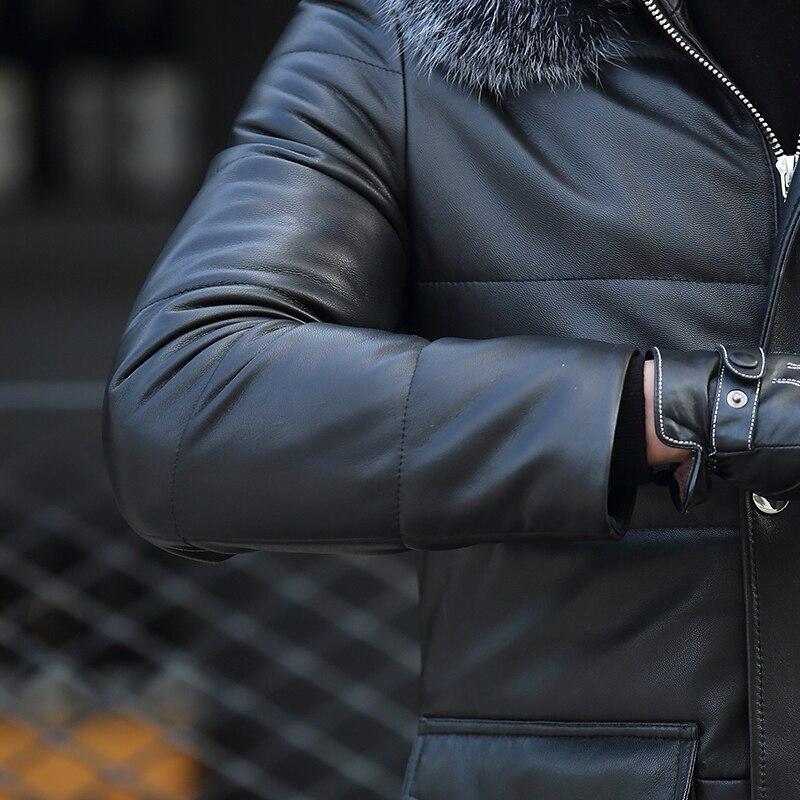 Men's Sheepskin Coat Genuine Leather Winter Duck Down Jacket Men Fox Fur Collar Hooded Coat Mens Jacket ATR7811 YY318