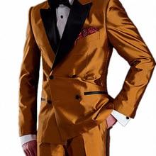Новейшее блестящее атласное двубортное платье-смокинг для банкета, одежда для свадьбы, костюм-смокинг для жениха с отворотом, костюмы для ужина, 2 предмета