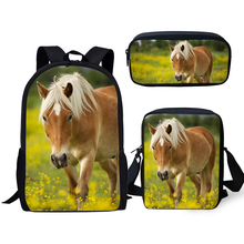 ELVISWORDS Fashion Childrens 3PCs Backpack Set Flower Horse Print Pattern Kids School Book Bags Backpack/Flaps Bag/Pen