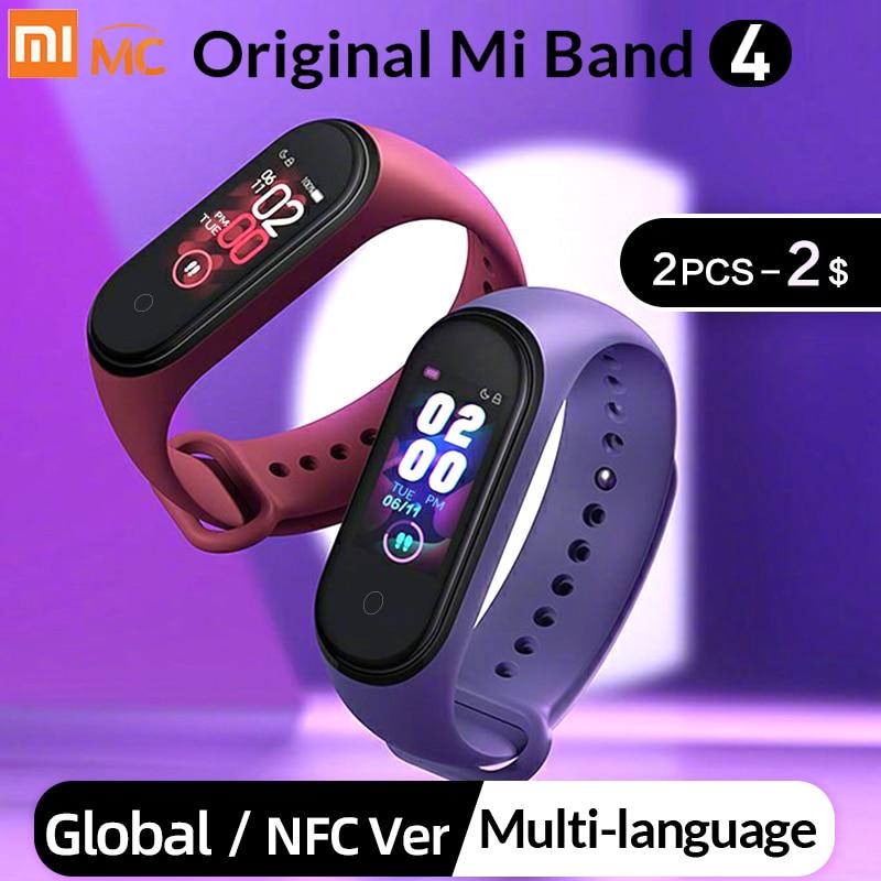Новая глобальная версия Xiaomi mi Band 4 band 4 Smart mi Band 3 Цвета экран Браслет Пульс фитнес музыка Bluetooth 50 м водонепроницаемый