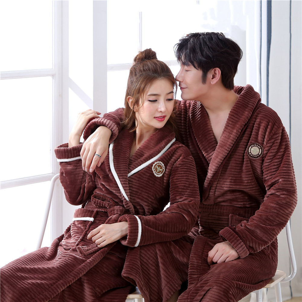 Full Sleeve Intimate Lingerie Plus Size Brown Couple Sleepwear Robe Gown Solid Colour Home Dressing Gown Sleepwear Nightgown 3XL