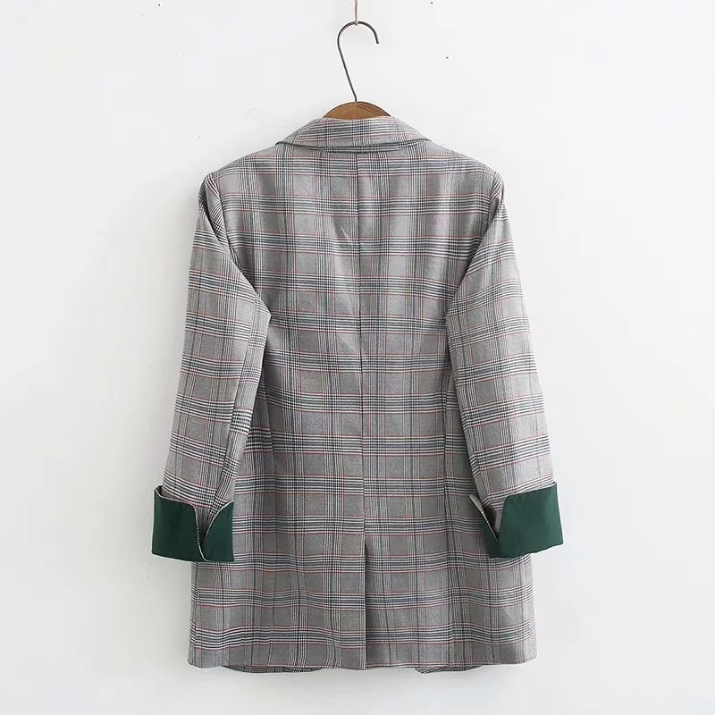 2019 Autumn Women's Blazers Jackets Casual Street Commuter Plaid Suits Coat Female Plus-size M-3XL