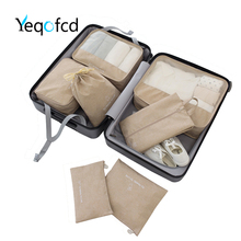Yeqofcd	7PCS Packing Cubes Cation Travel Luggage Bags Women Waterproof Underwear Clothes Organizer Pure Color Duffle Bag Unisex