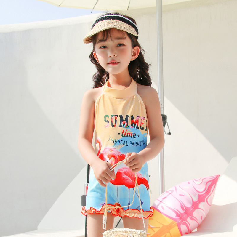 2019 New Style Hot Sales KID'S Swimwear Halter Backless INS Wind Flamingo One-piece Boxer Small CHILDREN'S GIRL'S Swimsuit