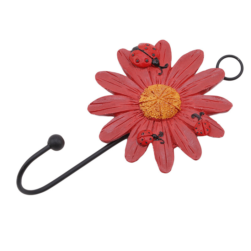 Resin Ladybug Flower Hook For Wall Door Mount Kitchen Bathroom Hanger Bathroom Hanger For Clothes Coat Home Decor